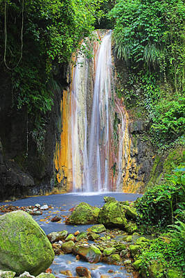 Diamond Falls- St Lucia Print by Chester Williams