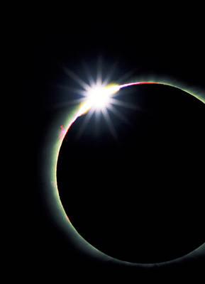 Diamond Ring Effect During Solar Eclipse Art Print by David Nunuk