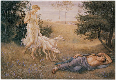 Endymion Painting - Diana And Endymion by Walter Crane