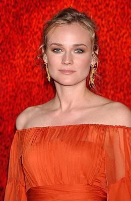 Gold Earrings Photograph - Diane Kruger Wearing A J. Mendel Dress by Everett