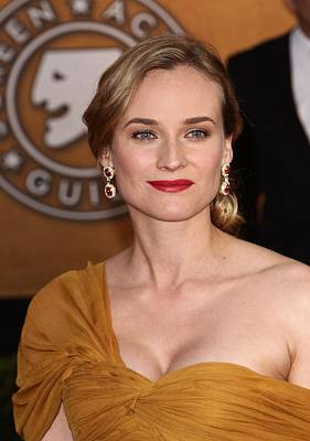 Gold Earrings Photograph - Diane Kruger Wearing Harry Winston by Everett