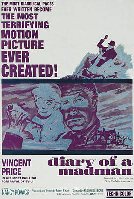Horror Movies Photograph - Diary Of A Madman, Right Of Center by Everett