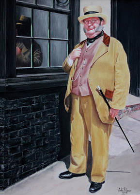 Dickens Character Outside Old Curiosity Shop Art Print by John  Palmer