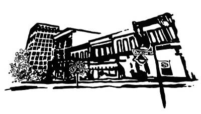 Amanda Drawing - Dickson Street In Fayetteville Ar by Amanda  Sanford
