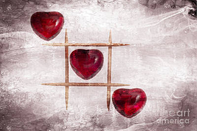 Photograph - Digital Art Of Three Glass Hearts In A Tic Tac Toe Pattern by Linda Matlow