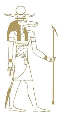 Ancient Civilization Digital Art - Digital Illustration Of Ancient Egyptian Crocodile God Sobek by Dorling Kindersley