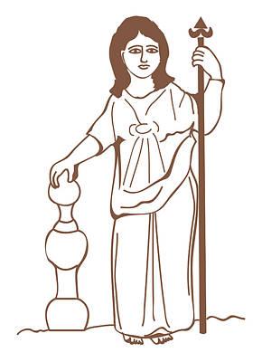 Full-length Portrait Digital Art - Digital Illustration Of Ancient Gaulish Goddess Of Nature Nantosuelta by Dorling Kindersley