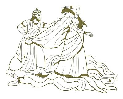 The Past Digital Art - Digital Illustration Of Duhsasana Trying To Disrobe Draupadi But The Length Of Her Sari Endlessly In by Dorling Kindersley