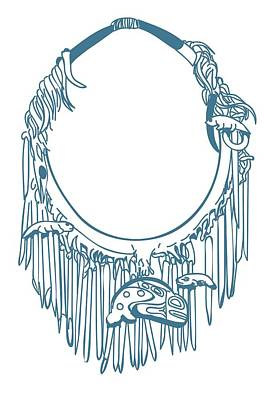 Digital Illustration Of Haida Neckring With Charms Carved From Pieces Of Bone Art Print by Dorling Kindersley