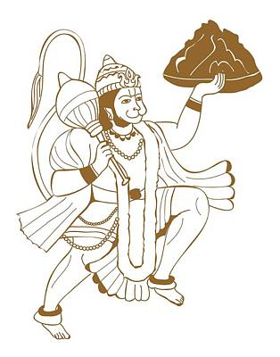 The Past Digital Art - Digital Illustration Of Hanuman Carrying The Mountain by Dorling Kindersley