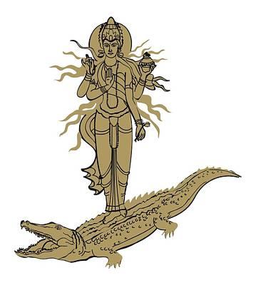 Digital Illustration Of Hindu Goddess Ganga Standing On Makara Depicted As Crocodile Art Print
