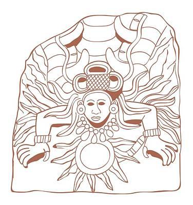 The Past Digital Art - Digital Illustration Of Mayan Stele Depicting The God Quetzalcoatl As The Morning Star by Dorling Kindersley