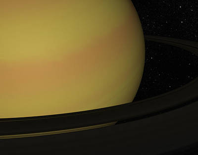 Black Background Digital Art - Digital Illustration Of Saturn And Its Rings by Chad Baker