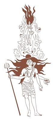 Indian River Digital Art - Digital Illustration Of Shiva With Flaming Hair And Goddess Ganga Rising From Flowing Stream Above R by Dorling Kindersley