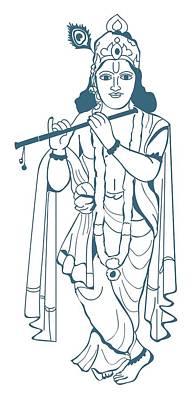 Full-length Portrait Digital Art - Digital Illustration Of Vishnu Playing Flute by Dorling Kindersley