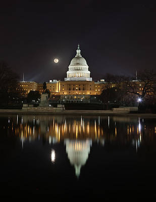 Digital Liquid - Full Moon At The Us Capitol Art Print by Metro DC Photography