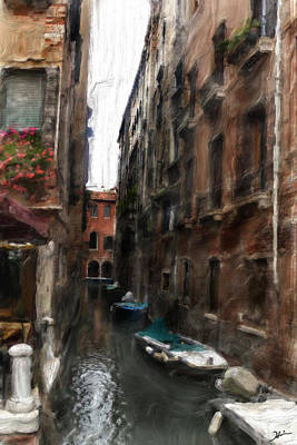 Digital Oil Paining Venice Canal Italy Art Print by Heinz G Mielke