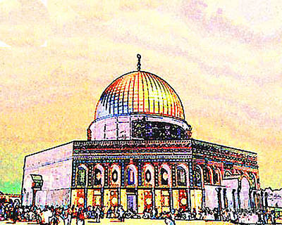 Photograph - Digital Sketch Dome Of The Rock Jerusalem by Merton Allen