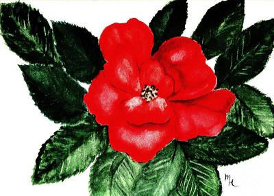 Wrap Digital Art - Digitalized Red Painted Rose by Marsha Heiken