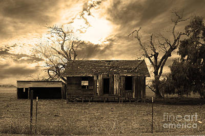 Dilapidated Old Farm House . 7d10341 . Sepia Art Print
