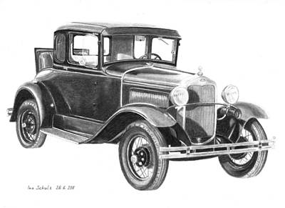Ford Model A Drawing - Dillinger's 1930 Ford Model A by Ina Schulz