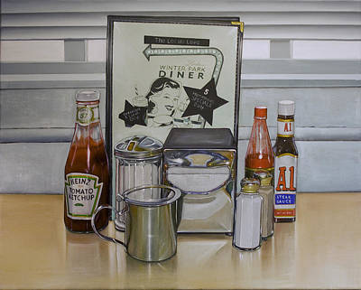 Baseball Gloves Painting - Diner Table by Vic Vicini
