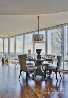 Dining Table And Chairs With City View Art Print by Andersen Ross