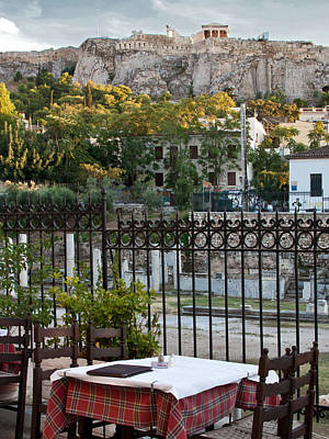 Photograph - Dining View Of The Acropolis by Susan OBrien