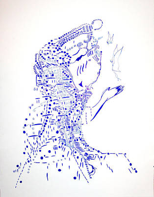 African Ceramics Drawing - Dinka Courtship - South Sudan by Gloria Ssali