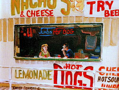 Hot Dog Stand Painting - Dinner For Two Atlantic City On The Boardwalk   by Carole Spandau