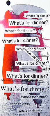 Outsider Painting - Dinner by Linda Woods