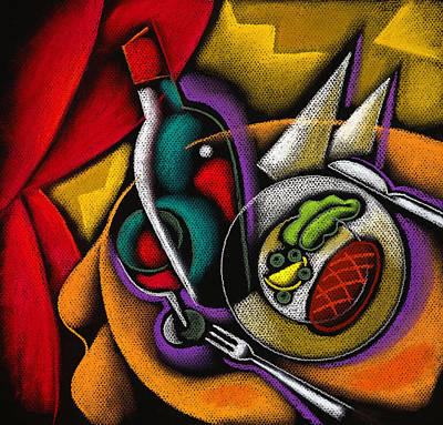 Dinner With Wine Art Print by Leon Zernitsky
