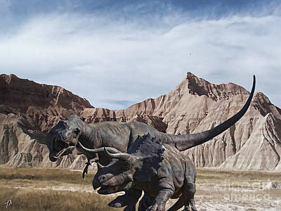 Fashion Paintings Rights Managed Images - Dinos in the Badlands Royalty-Free Image by Tommy Anderson