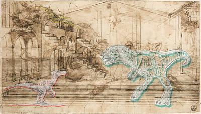Jules Mixed Media - Dinosaur Battle by Marcus  Jules