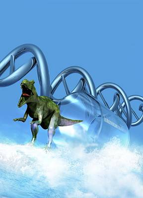 Resurrecting Photograph - Dinosaur Dna Clone, Conceptual Image by Victor Habbick Visions