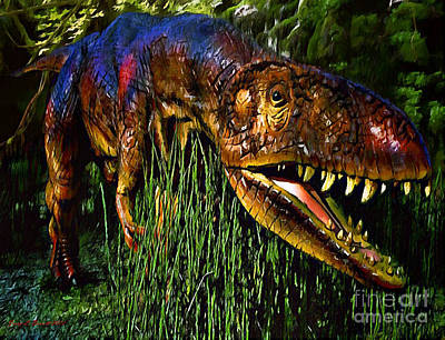 Dinosaur In Reeds Art Print by Jerry L Barrett