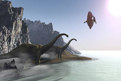 Dinosaurs Come To The Shore For A Drink Art Print by Corey Ford