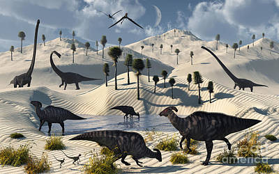 Dinosaurs Gather At A Life Saving Oasis Art Print by Mark Stevenson