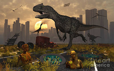 Rubbish Digital Art - Dinosaurs Run Wild And Robotic Androids by Mark Stevenson