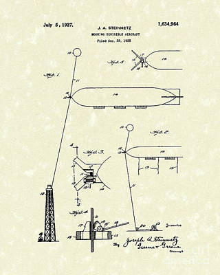 Air Travel Drawing - Dirigible 1927 Patent Art by Prior Art Design