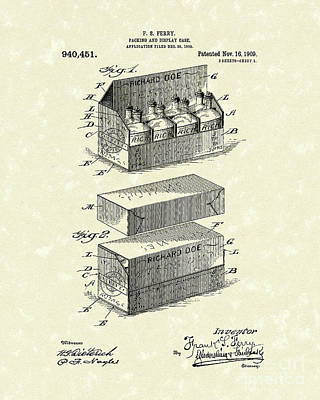 Packaging Drawing - Display Case 1909 Patent Art by Prior Art Design