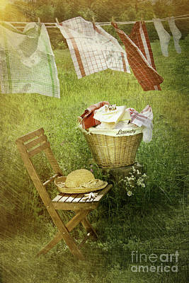 Hanging Basket Photograph - Distressed Photo Of Wash Day  by Sandra Cunningham