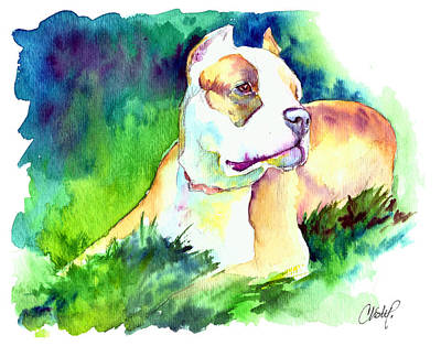 Pitty Painting - Diva Momma Pit Bull by Christy  Freeman