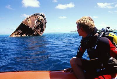 Diver And Shipwreck Art Print