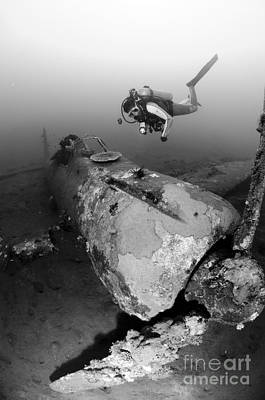 Diver Explores The Wreck Art Print