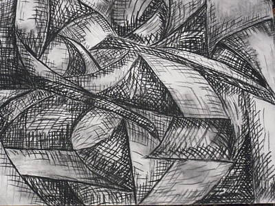 Abstract Shapes Drawing - Divine Night by Donna Reaves