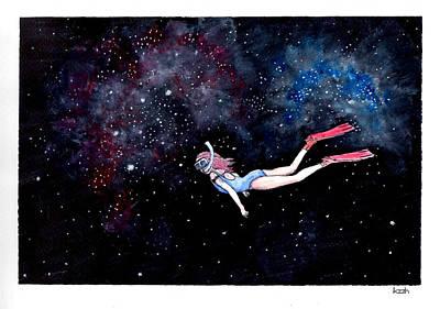 Diving Through Nebulae Art Print by Katchakul Kaewkate