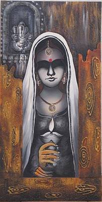 Indian Tribal Art Mixed Media - Divya by Kanan Trivedi
