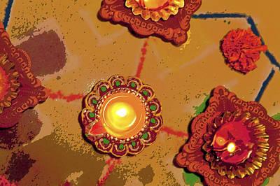 Diwali Colors By Candle Art Print by Kantilal Patel