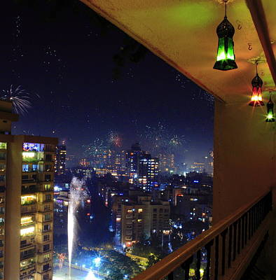 Diwali Photograph - Diwali Lights And Firecrackers From Balcony by Sharad Gupta